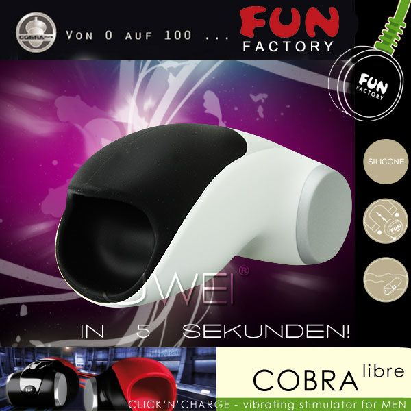 德國FUN FACTORY*眼鏡蛇柯波拉-德國綠色科技磁吸充電式男用電動自慰器(白-黑)(附贈USB充電線)