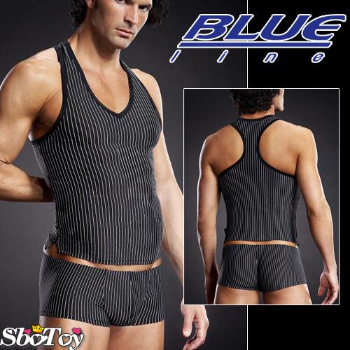 美國Blue Line-競技猛男V領挖背背心-條紋款 L-XL BLM006-適合亞洲男性尺寸