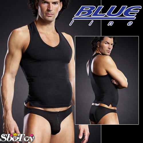 美國Blue Line-競技猛男V領挖背背心-經典黑 L-XL BLM006-適合亞洲男性尺寸