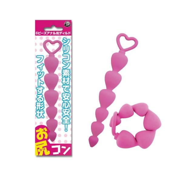 日本A-ONE*愛心捻珠型指扣矽膠後庭棒-
