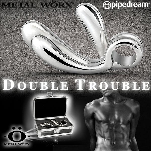 美國PIPEDREAM*METAL WORX-DOUBLE TROUBLE白鋼金屬系列-雙指型指扣G點按摩棒(精緻禮盒裝)