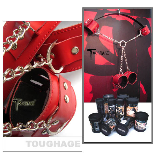美國TOUGHAGE*X Chain Ankle Cuffs Fetter X型克制套件(紅色)
