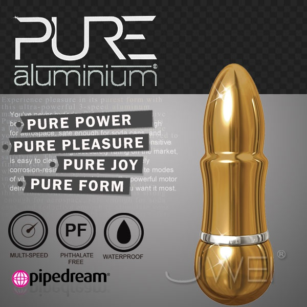 美國PIPEDREAM*PURE Aluminium鋁合金材質時尚精品按摩棒-S(金)