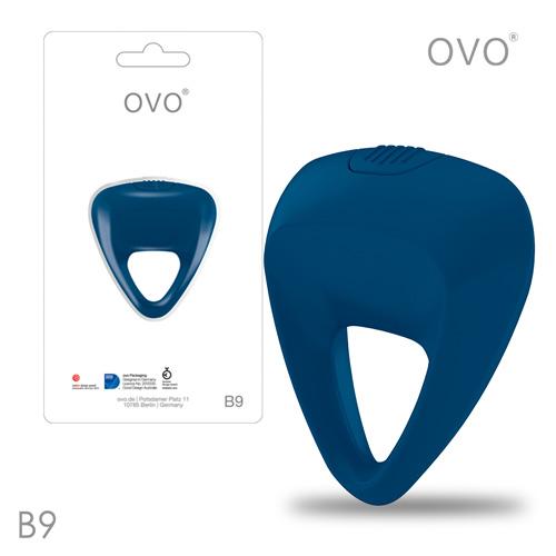 德國OVO-B9 前衛男性 矽膠靜音時尚震動環-深藍