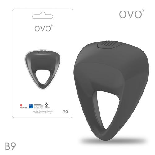 德國OVO-B9 前衛男性 矽膠靜音時尚震動環-鐵灰