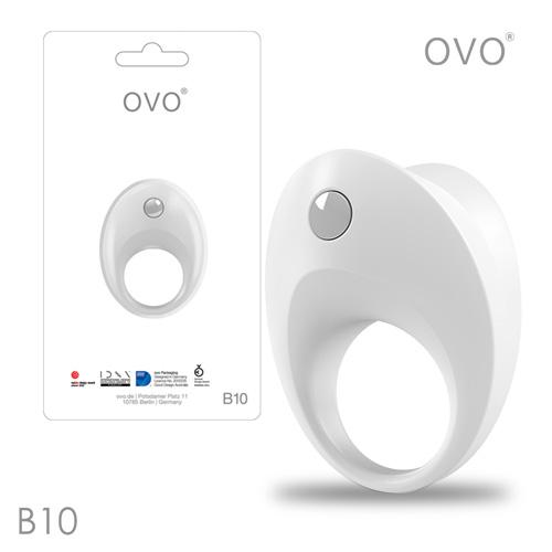 德國OVO-B10 前衛男性 矽膠靜音時尚震動環-白色