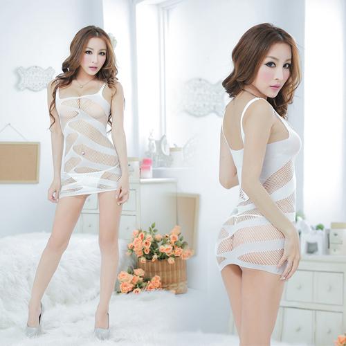 輕熟時尚!義大利精編工藝 情趣性感開檔貓裝 (白色) XL-029