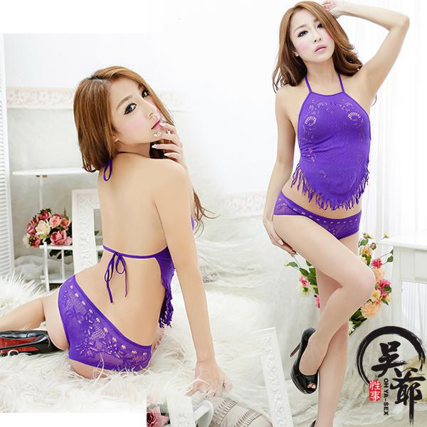 宮廷迷情!義大利精編工藝 情趣網眼肚兜貓裝 (紫色) XL-037