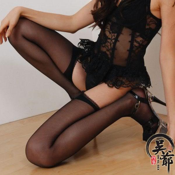 性感美腿 四面開檔美腿連體褲襪-苞芯絲 (黑色)