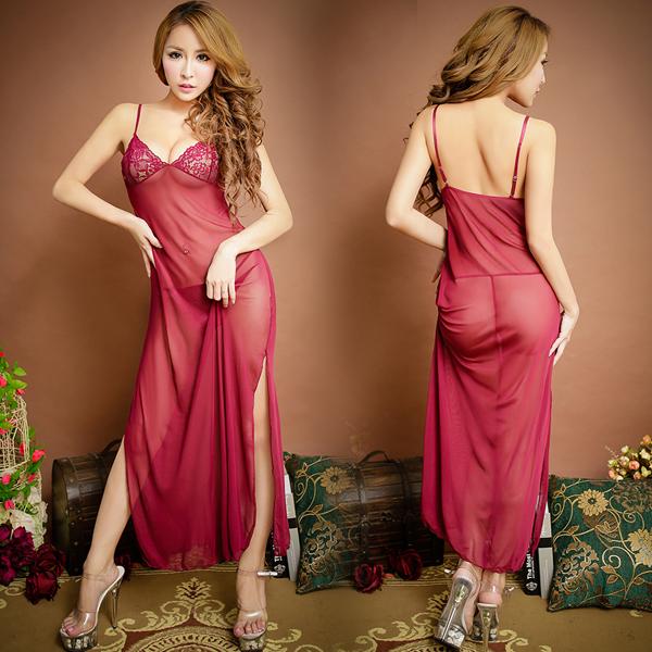 柔情優雅.雪-紗高貴長裙式蕾絲簍空情趣睡衣 (紅)
