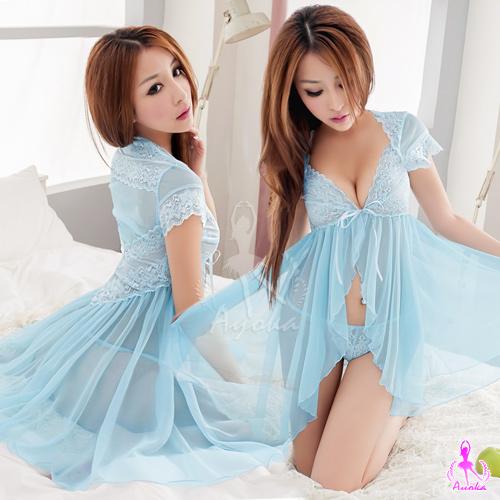 藍霧仙境!小蓋袖二件式柔紗睡衣