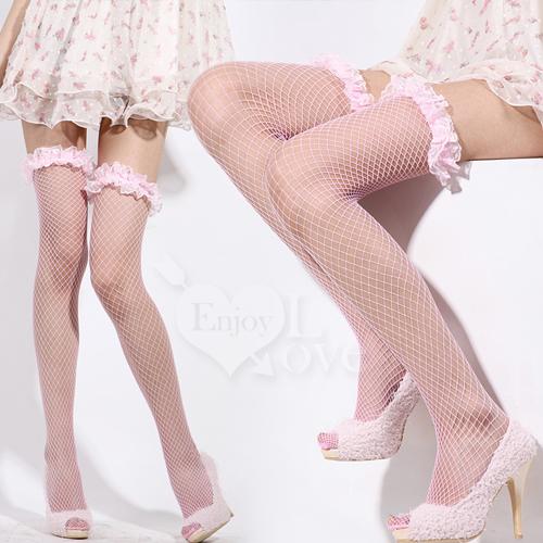 美腳誘惑.立體蕾絲花邊網襪(俏皮粉)