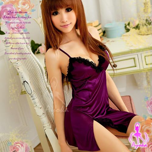 紫色浪漫!側開襟二件式睡襯衣