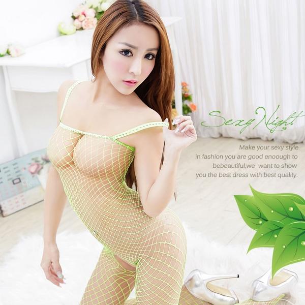 嫵媚.性感曲線連身網衣 (綠)