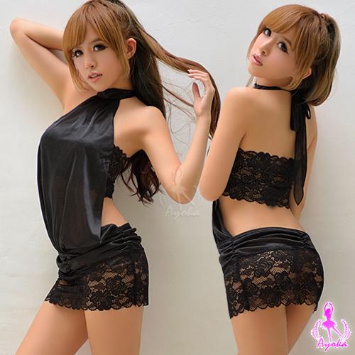 炫黑綁脖蕾絲二件式迷你辣妹連身裙